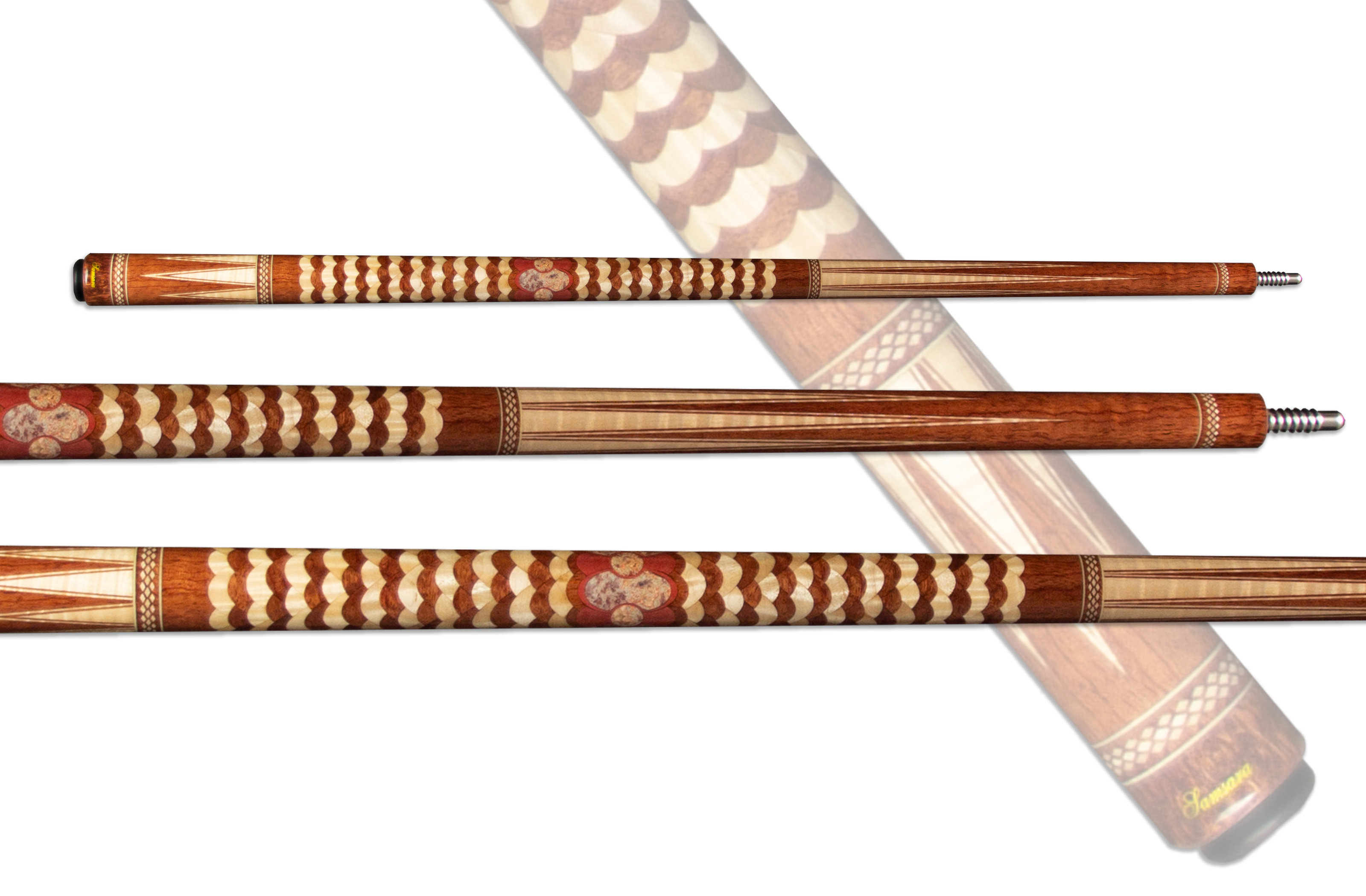 "Samsara Twisted Cue - Waterfall Bubinga, Curly Maple, Pink Ivory & Crazy Lace ""Twisted"" Cue SE-TW-1"