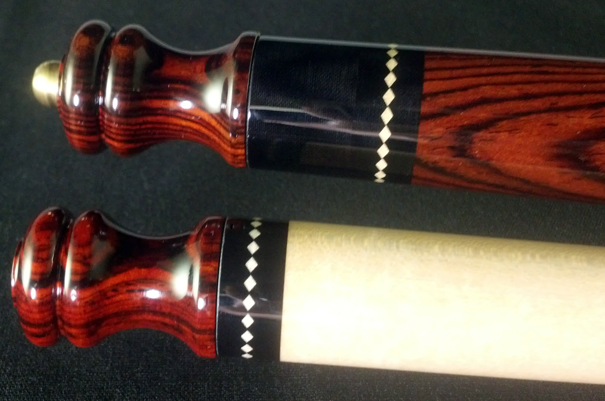 Cocobolo shown on a cue