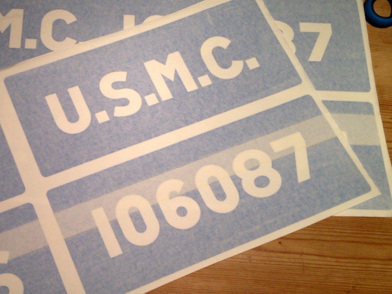 Factory font side of tub U.S.M.C. stencils for Jeep ww2 army