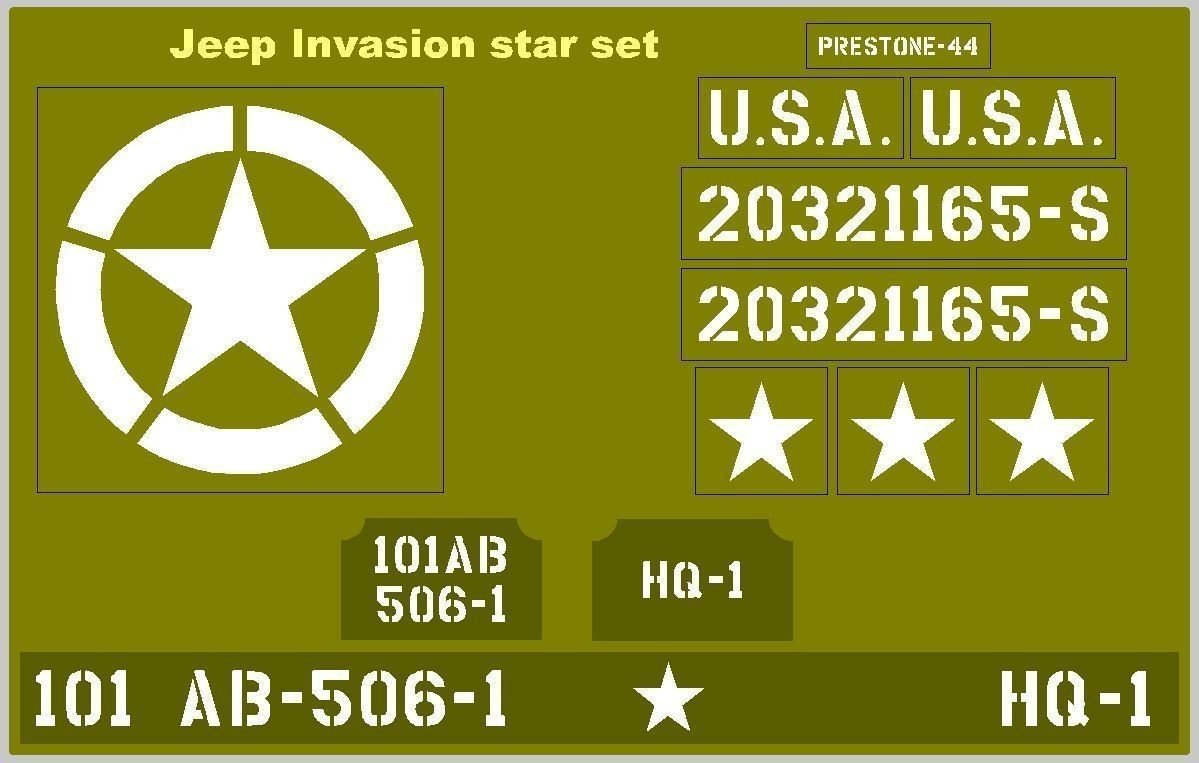 Invasion Star Jeep stencil set for re-enactors ww2 army Jeep dodge GMC