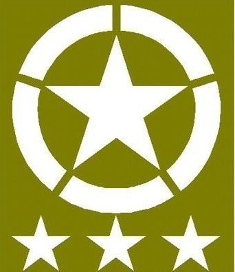 "Invasion star set 20"" Dia and three 6"" tub stars for ww2 Jeep willys Ford stencil set for re-enactors ww2 army Jeep prop"