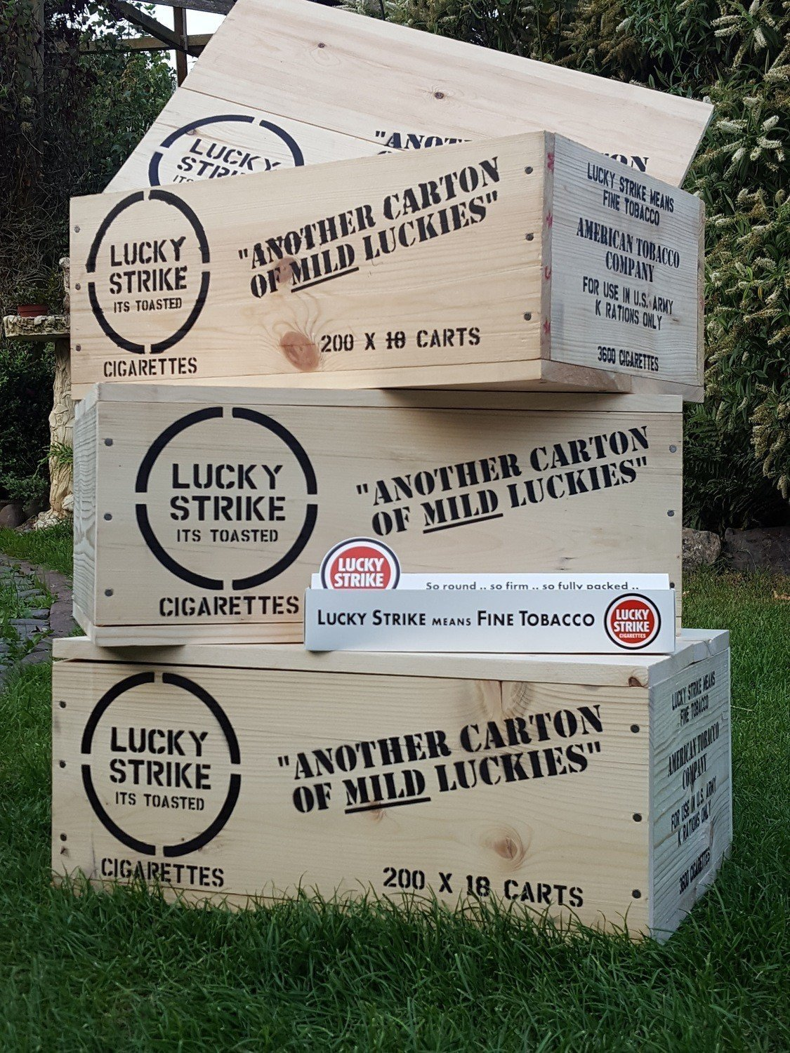Lucky Strike crate stencil set for re-enactors ww2 army prop