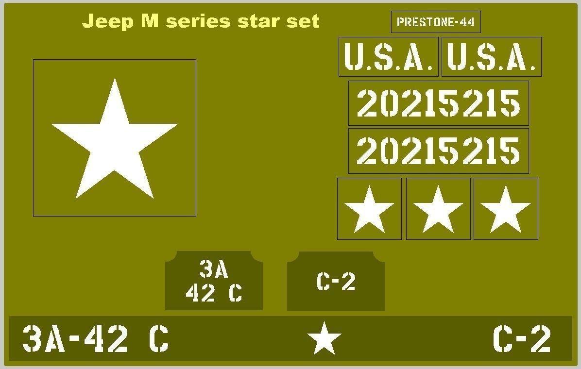 M Series Star Jeep Stencil Set