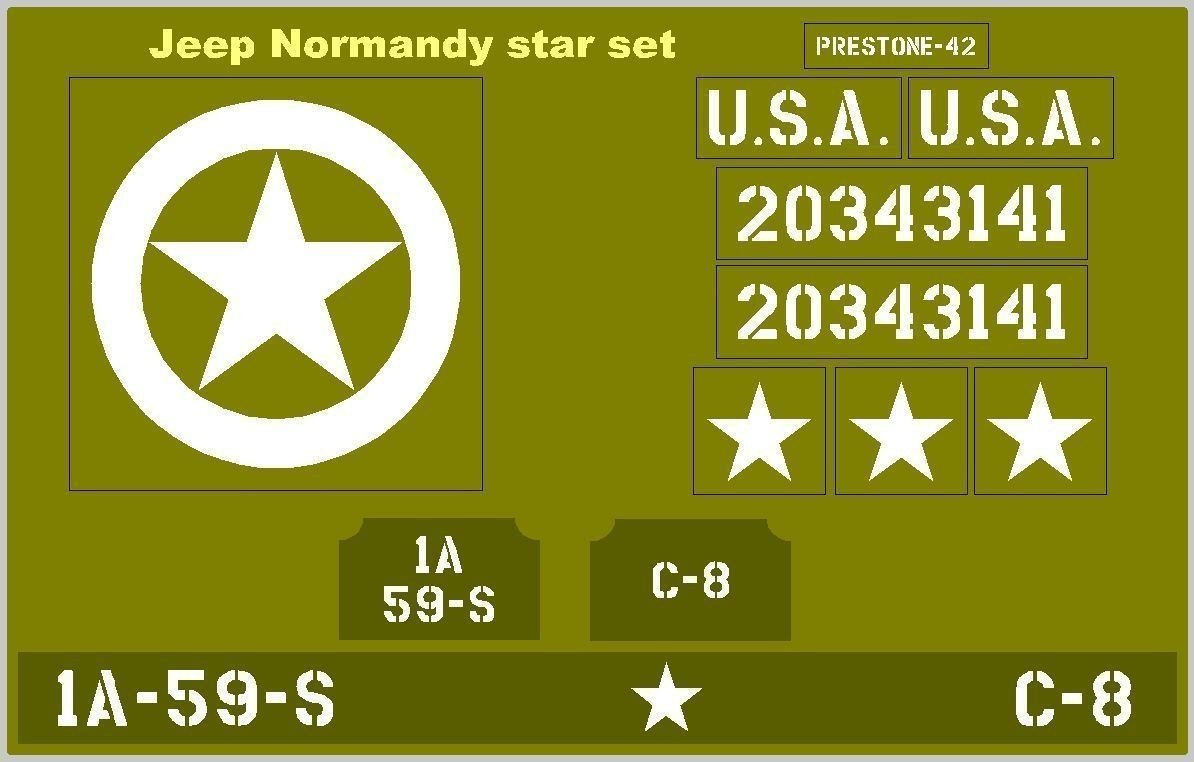 Normandy Star Jeep stencil set for re-enactors ww2 army