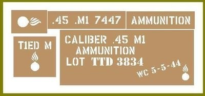 45 Cal ammo box stencil set for re-enactors ww2 army Jeep prop