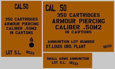 50 Cal Armour Piercing ammo box stencil set for re-enactors ww2 army Jeep prop