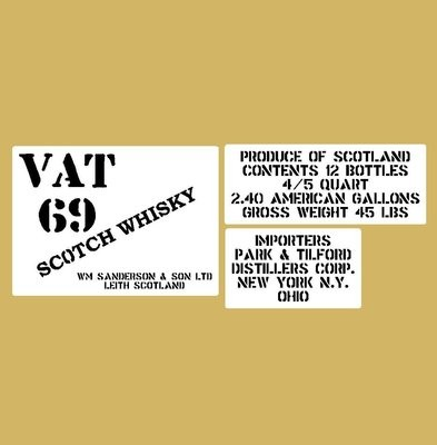VAT 69 whisky crate stencil set for re-enactors ww2 army prop