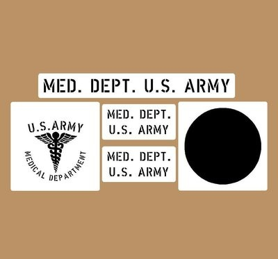 Medical stencil set (med 1) stencil set for re-enactors ww2 army prop