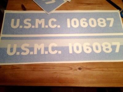 Factory font Bonnet / Hood U.S.M.C. stencils for Jeeps etc