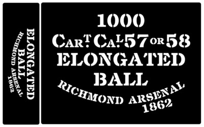Elongated Ball ammunition box stencils American Civil war (R)
