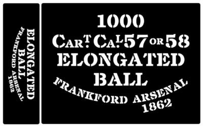 Elongated Ball ammunition box stencils American Civil war (F)