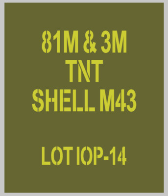 81mm mortar Shell stencils for re-enactors ww2 army Jeep prop