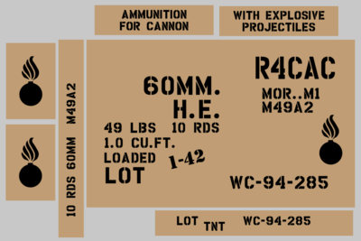 60mm Mortar ammo box stencil set (Mk2)