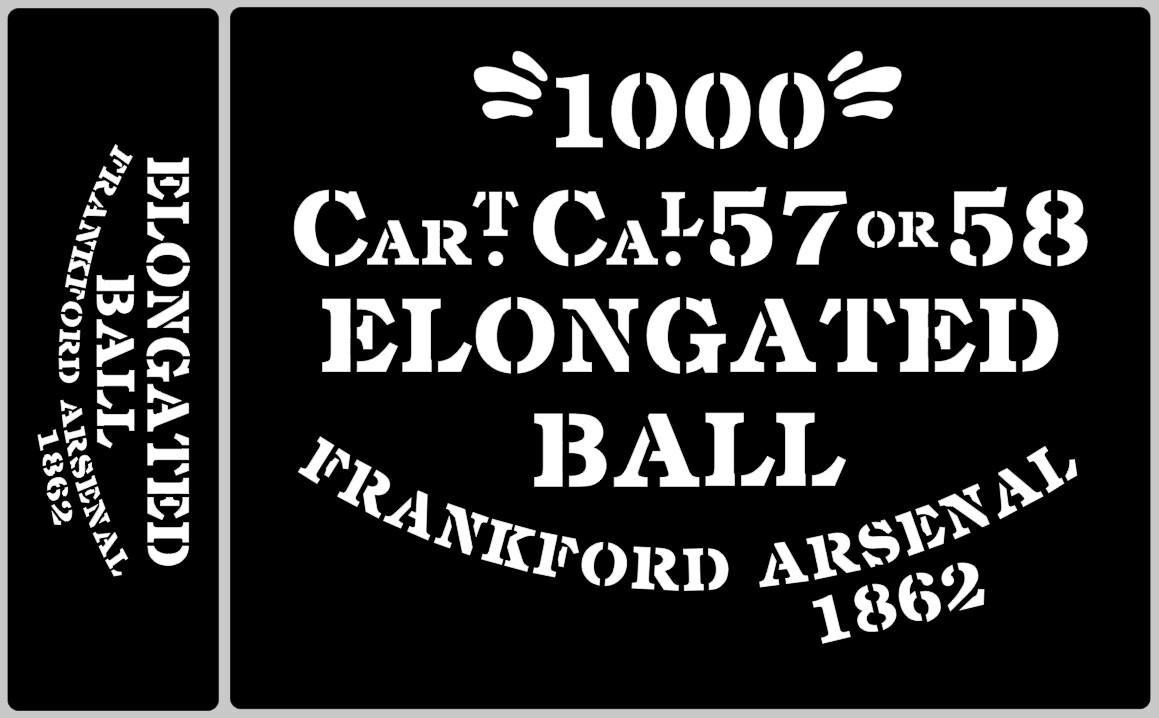Elongated Ball ammunition box stencils American Civil war.