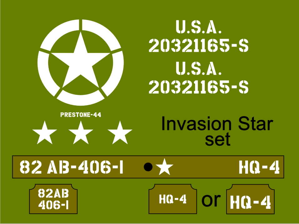 Invasion Star Jeep stencil set ww2 army Jeep Willys Ford Hotchkiss