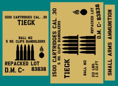 30 Cal Bandoleers 5 round ammo box stencil set