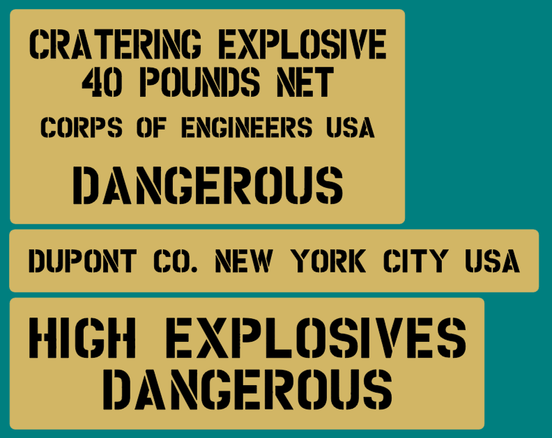 40 Pound cratering explosive TNT crate stencil set for re-enactors ww2 army Jeep prop