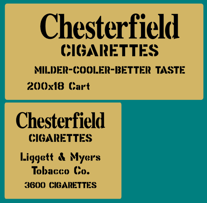 Chesterfield Cigarette crate stencil set