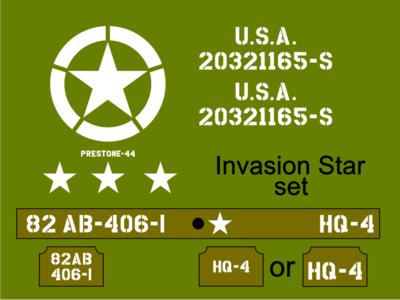1/6th Jeep Invasion Star Jeep stencil set suit Dragon kit.