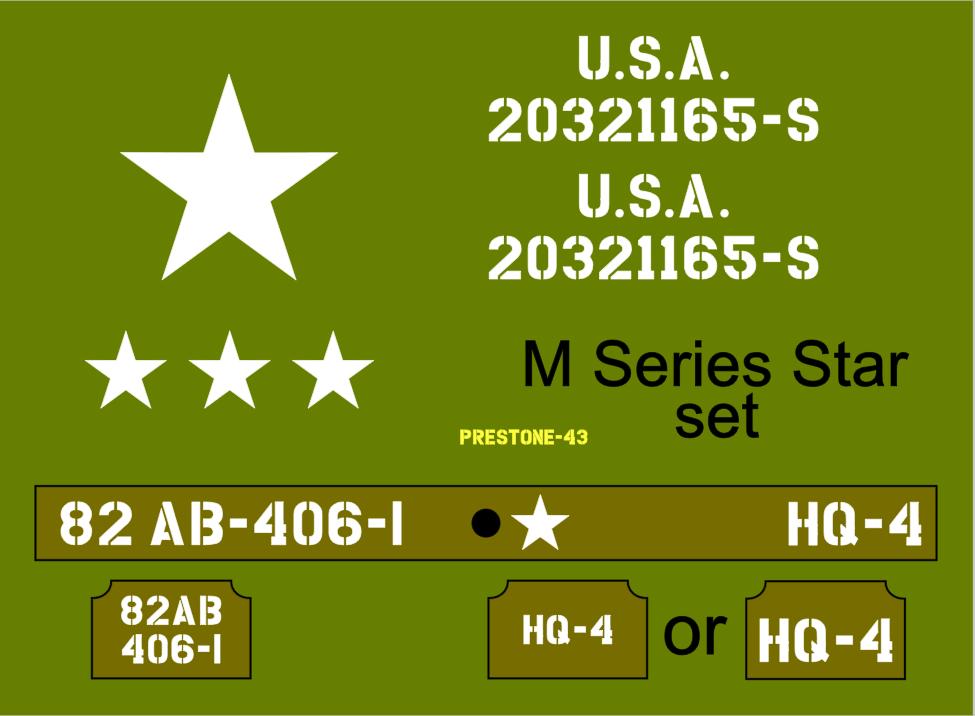 1/6th Scale Jeep M Series Star Dragon Jeep Stencil Set suit Dragon model kit
