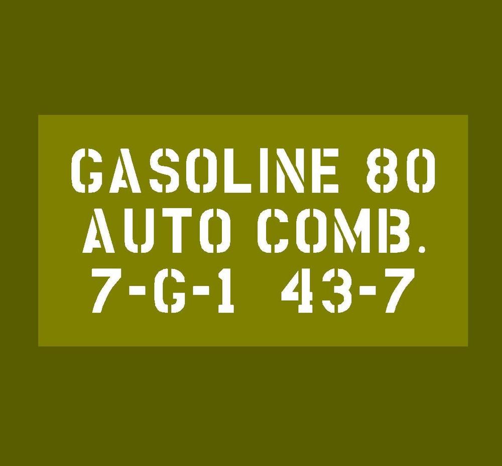Jerry Can Gasoline 80 stencil