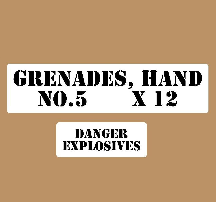 Hand grenade stencil set small stencil set for reenactors ww2 army Jeep prop