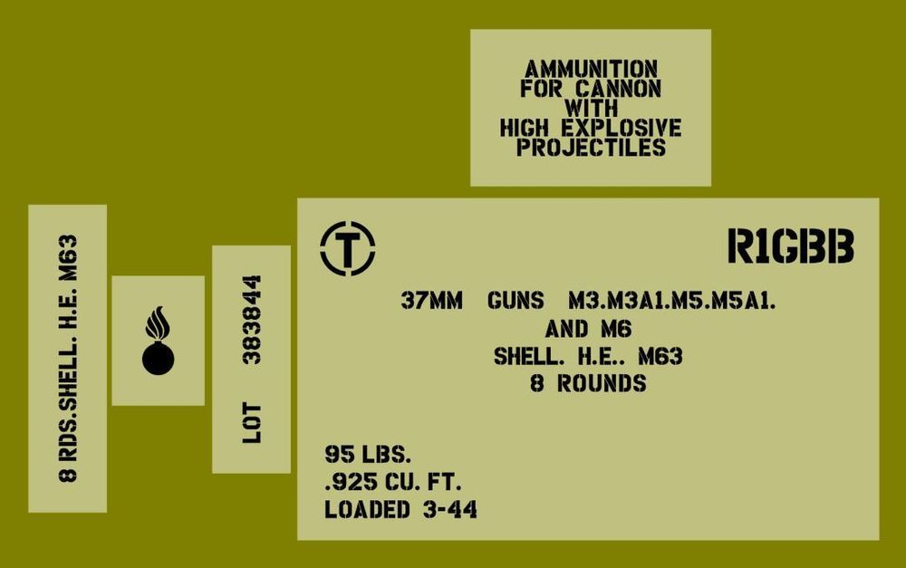 37mm shell ammo box stencil set