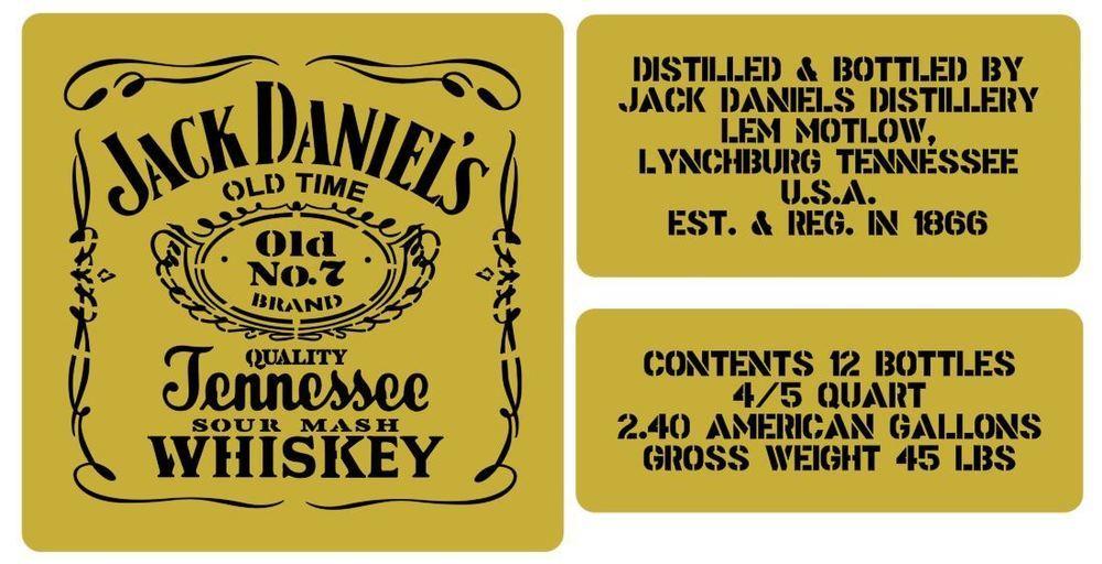Jack Daniels whisky crate stencil set