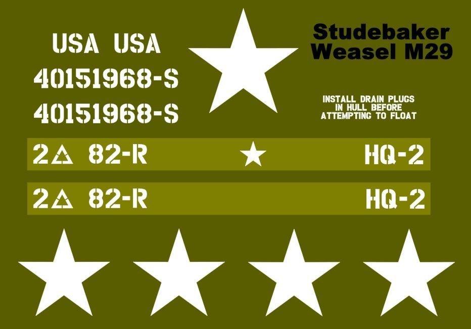 Studebaker Weasel M29 stencil set for reenactors ww2 army prop