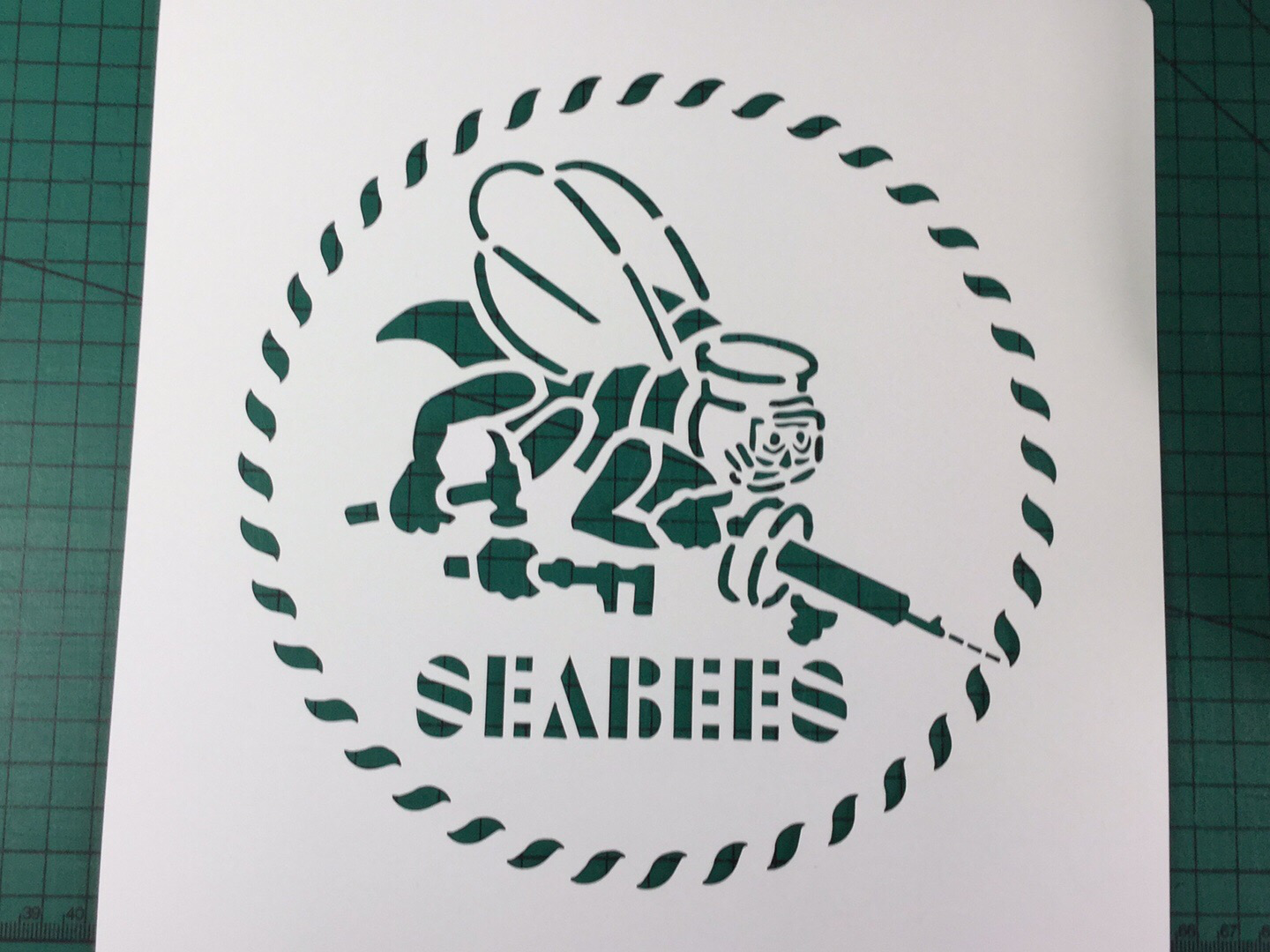 Seabees logo stencil set for reenactors ww2 wartime prop