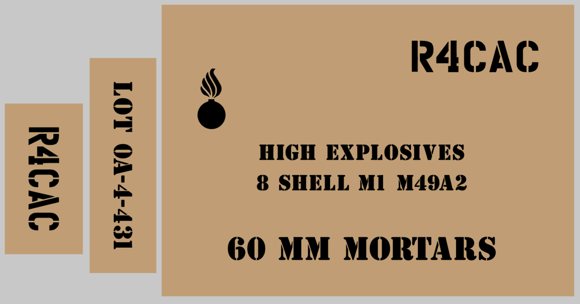 60mm Mortar ammo box stencil set for reenactors ww2 army Jeep prop