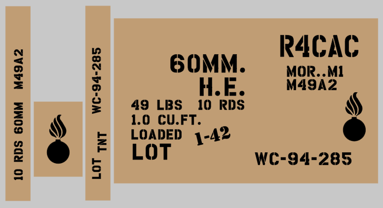 60mm Mortar ammo box stencil set (Mk2)