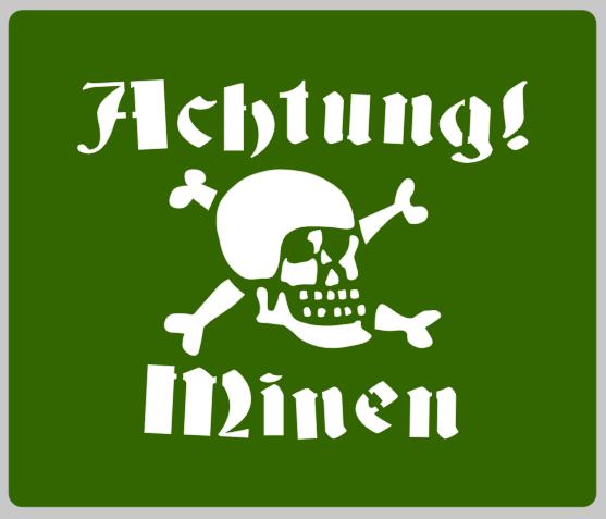 German Achtung Minen sign stencil stencil set for reenactors ww2 army prop
