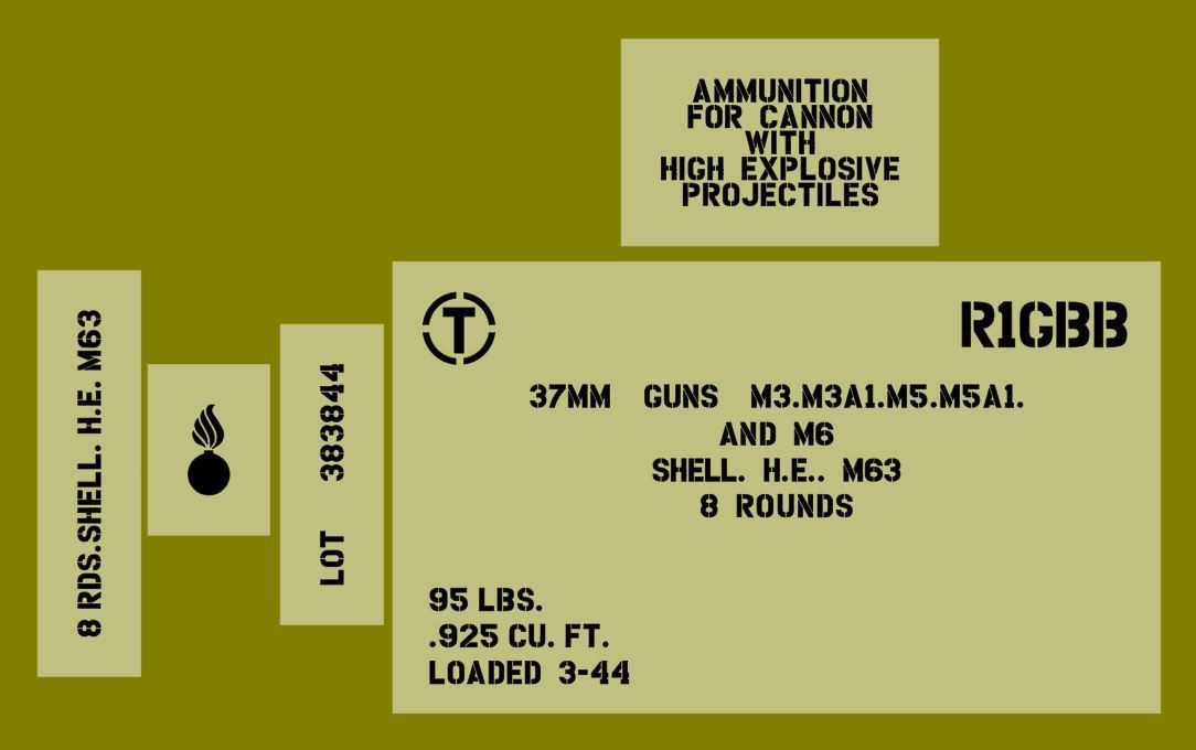 37mm shell ammo box stencil set for reenactors ww2 army Jeep prop