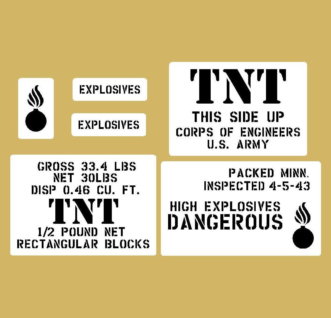 TNT crate stencil set for reenactors ww2 army prop