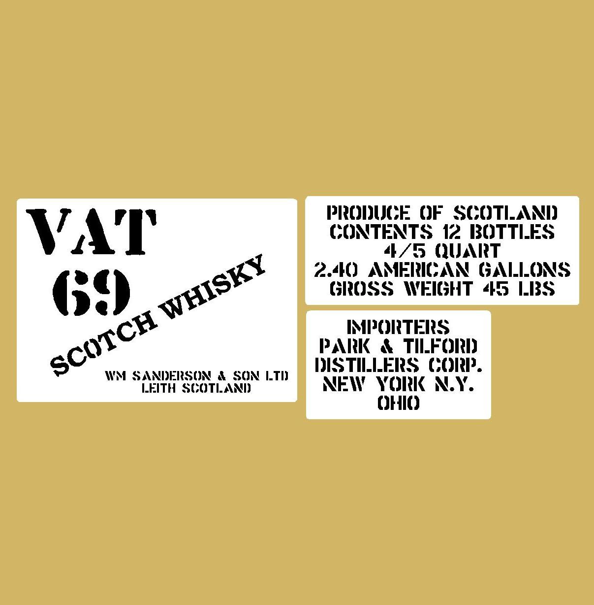 VAT 69 whisky crate stencil set for reenactors ww2 army prop
