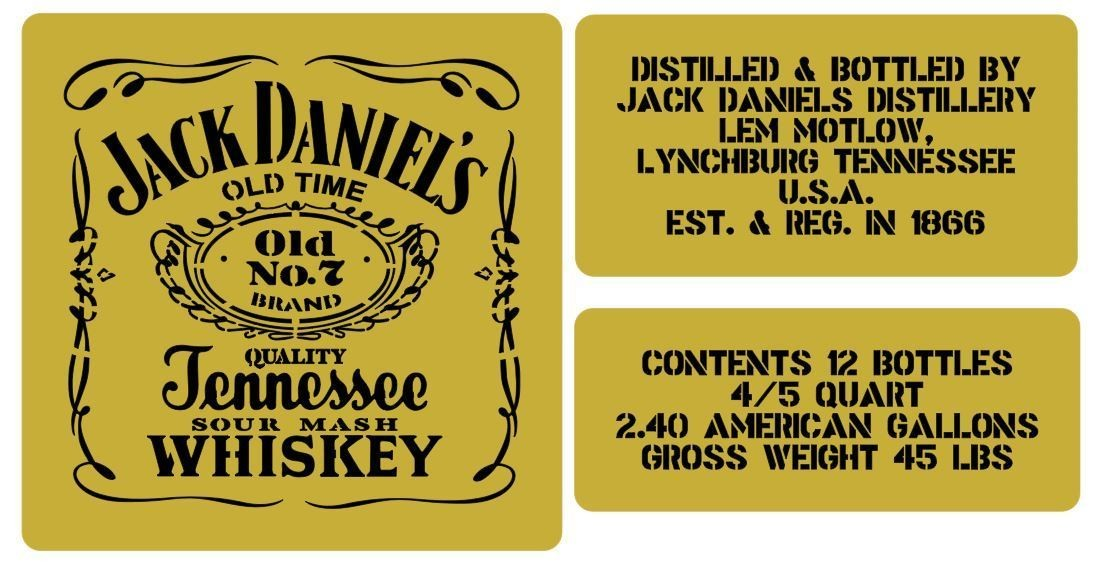Jack Daniels whisky crate stencil set for reenactors ww2 army Jeep prop
