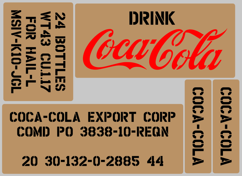 C oke Cola Soda drink box stencil set