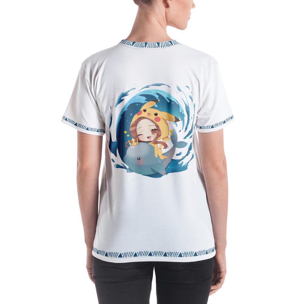 Shar Flying Dolphin All Over Print Women's T-shirt - White