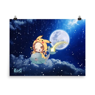 Shar Space Flying Dolphin Poster