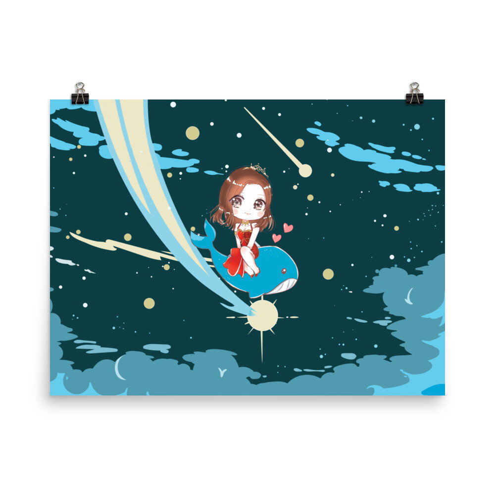 Shar Flying Whale Princess Photo paper poster