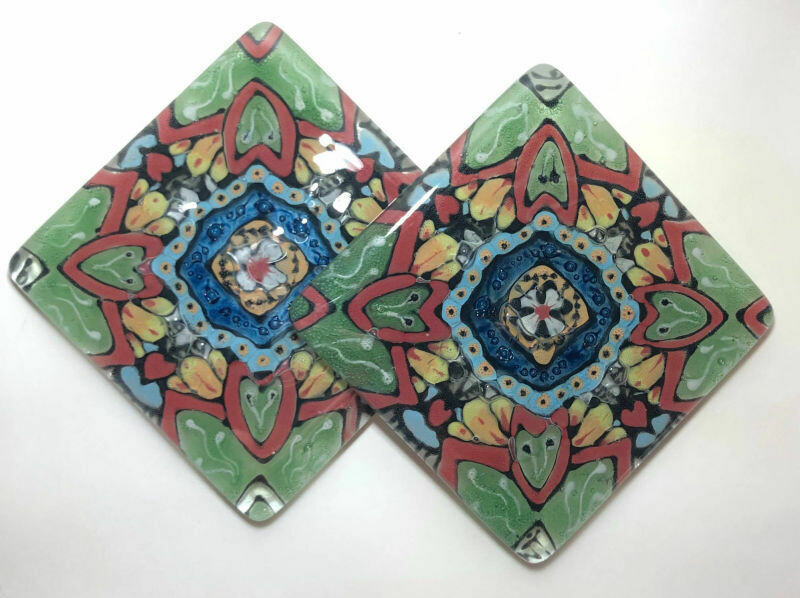Red and Green Pattern Coasters