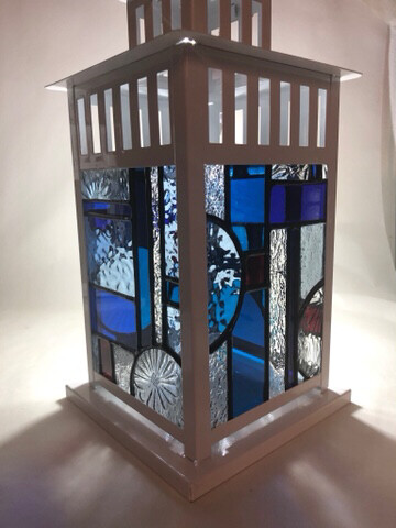 Stained Glass Lantern Blue