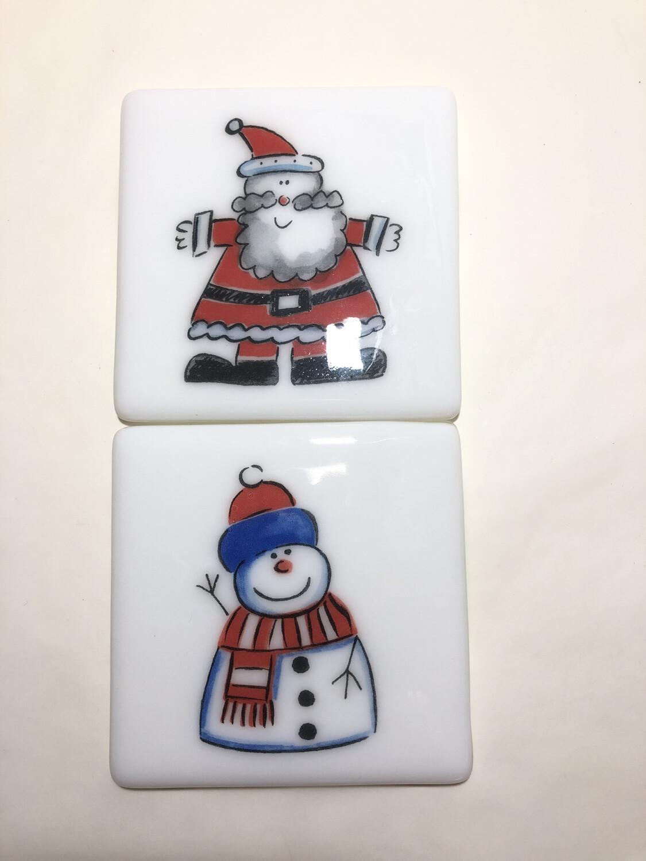 Santa & Snowman 2 Coasters