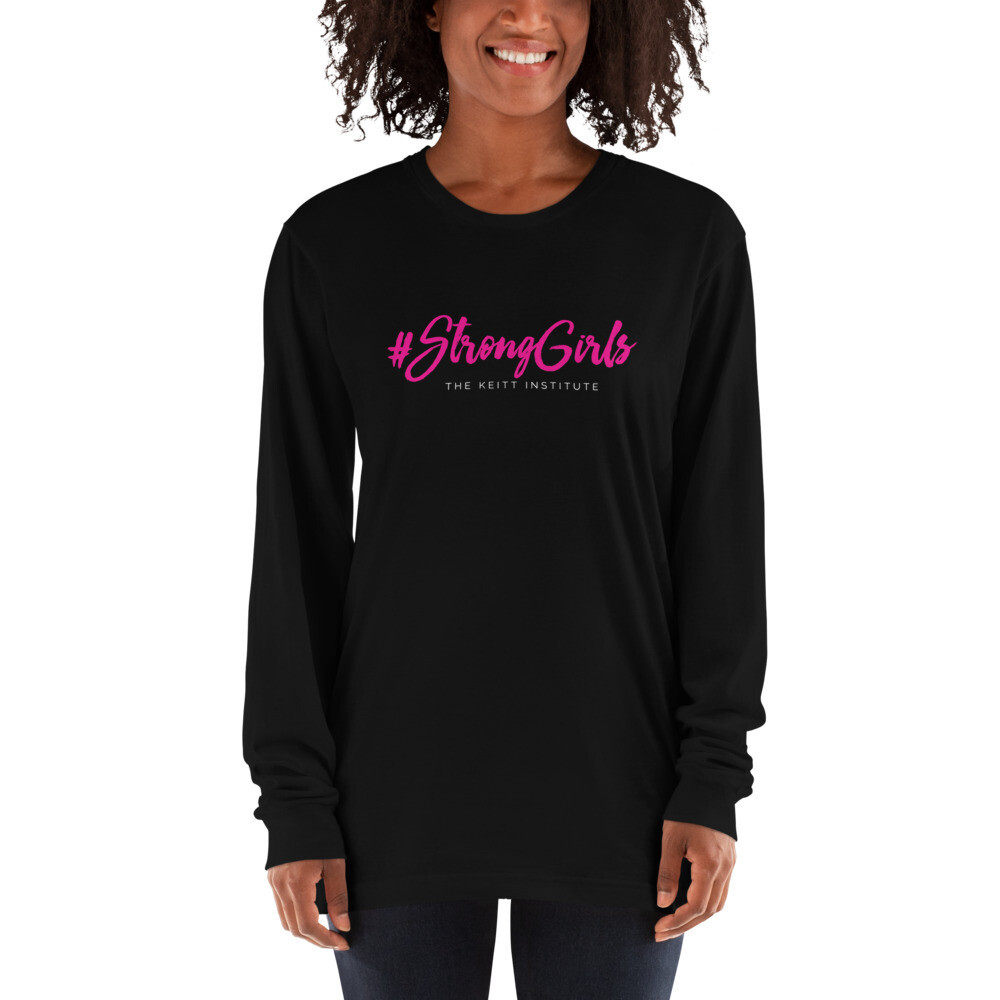 #StrongGirls Pink & White Logo Long Sleeve Shirt