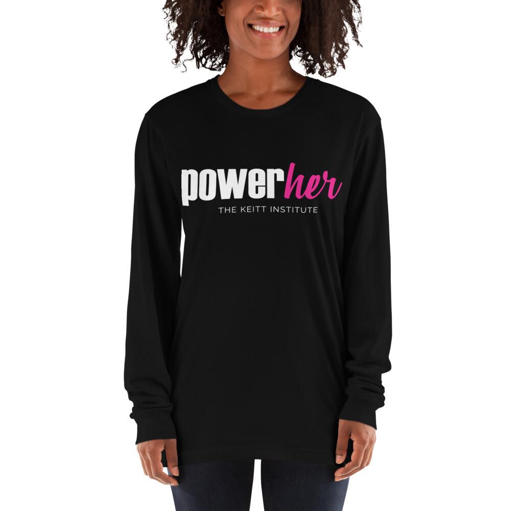 PowerHer Pink & White Logo Long Sleeve Shirt