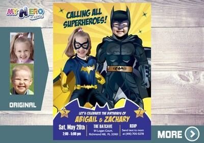 Batman and Batgirl Birthday Invitation. Batman and Batgirl Siblings Party. Joint Batman Party Ideas. Invitación de Batman y Batichica. 297