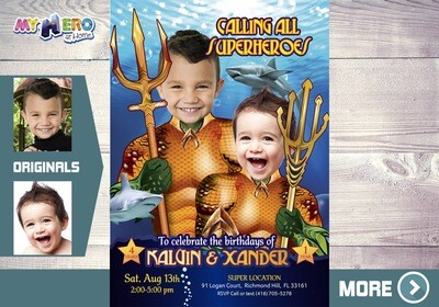 Aquaman Birthday Invitation for Siblings. Siblings Aquaman Party Ideas. Joint Justice League Party. 196