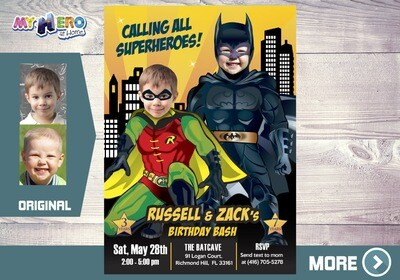 Batman and Robin Invitation. Batman and Robin Party. 296