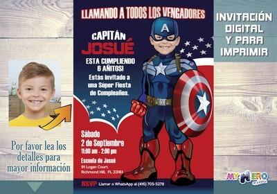 Capitán América Invitación de Cumpleaños. Convierta a su niño en el Capitán América. Invitacion Cumple Vengadores. 074SP